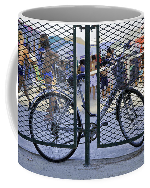Bicycle Coffee Mug featuring the photograph Scene Through The Gate by Madeline Ellis