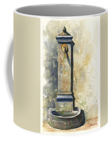 Public Coffee Mug featuring the painting Scenes Of Italy, Street Faucet I by Antonio Mazzola