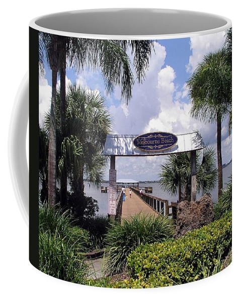 Melbourne Beach; Melbourne; Beach; Florida Usa; Brevard; Pier; Wharf; Scenic; River; Indian; Clouds; Coffee Mug featuring the photograph Scenic Melbourne Beach Pier Florida by Allan Hughes