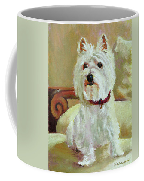Pet Coffee Mug featuring the painting Schatzie by Keith Burgess