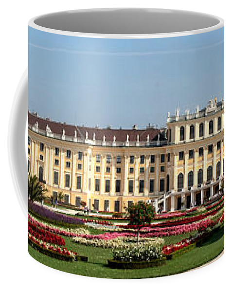 Schonbrunn Palace Hapsburg Vienna Austria Castle Garden Coffee Mug featuring the photograph Schonbrunn Palace And Gardens by Thomas Marchessault
