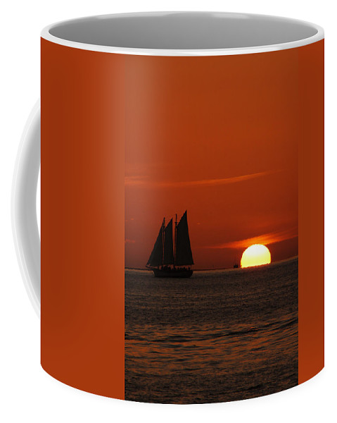 Schooner In Red Sunset Coffee Mug featuring the photograph Schooner In Red Sunset by Susanne Van Hulst