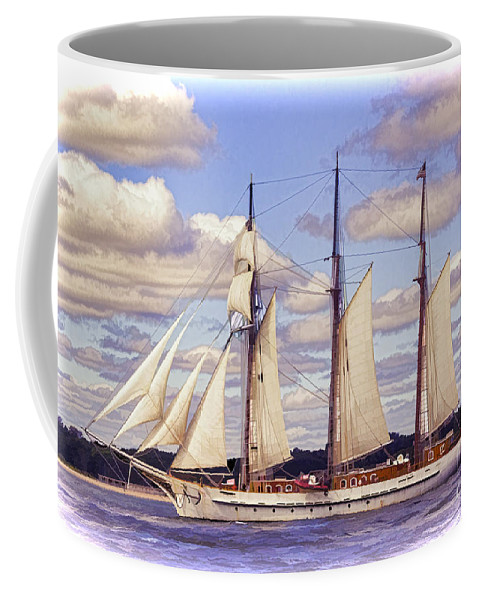 Atlantic Coffee Mug featuring the photograph Schooner Mystic Under Sail by Joe Geraci