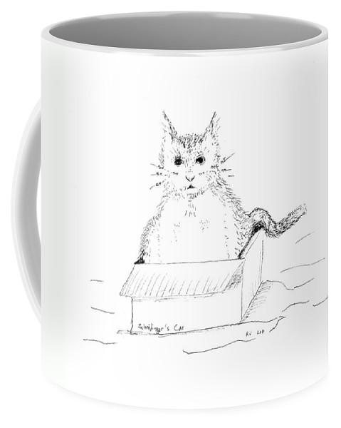 Cat Coffee Mug featuring the drawing Schrodinger Cat by Regina Valluzzi