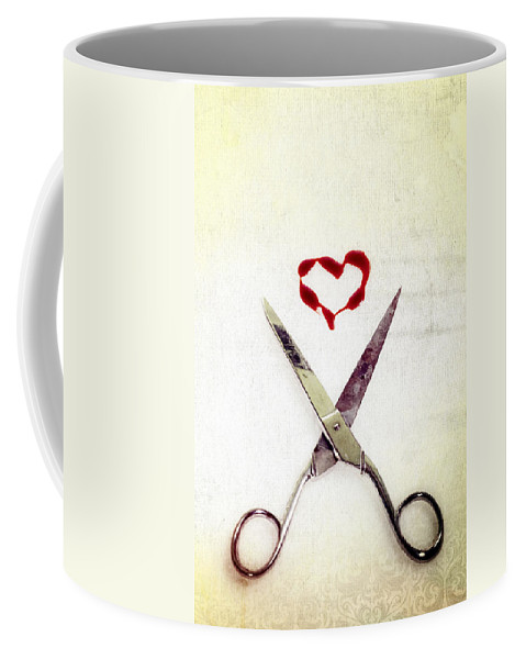 Scissors Coffee Mug featuring the photograph Scissors And Heart by Joana Kruse