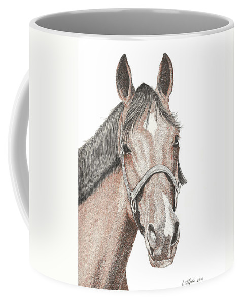 Horse Coffee Mug featuring the drawing Scooter by Lawrence Tripoli