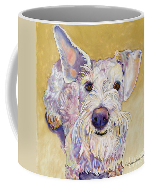 Schnauzer Coffee Mug featuring the pastel Scooter by Pat Saunders-White