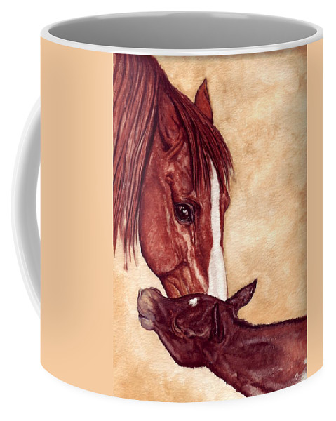 Horse Coffee Mug featuring the painting Scootin by Kristen Wesch