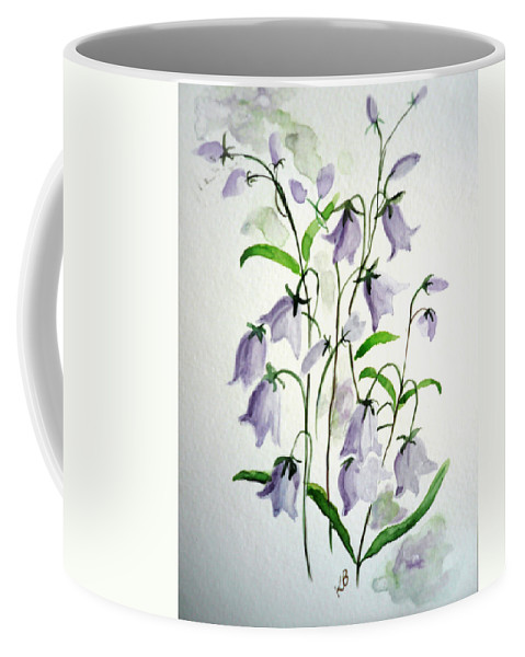 Blue Bells Hare Bells Purple Flower Flora Coffee Mug featuring the painting Scottish Blue Bells by Karin Dawn Kelshall- Best