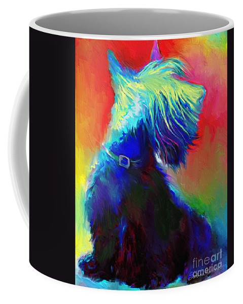 Scottish Terrier Painting Coffee Mug featuring the painting Scottish Terrier Dog Painting by Svetlana Novikova