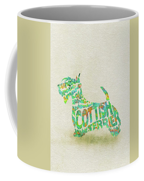 Scottish Terrier Coffee Mug featuring the painting Scottish Terrier Dog Watercolor Painting / Typographic Art by Inspirowl Design