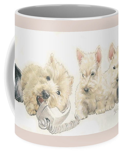 Terrier Group Coffee Mug featuring the mixed media Scottish Terrier Puppies by Barbara Keith
