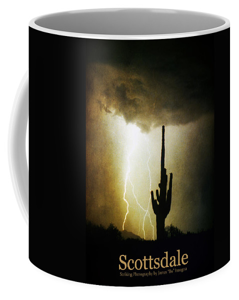 Scottsdale Coffee Mug featuring the photograph Scottsdale Arizona Fine Art Lightning Photography Poster by James BO Insogna