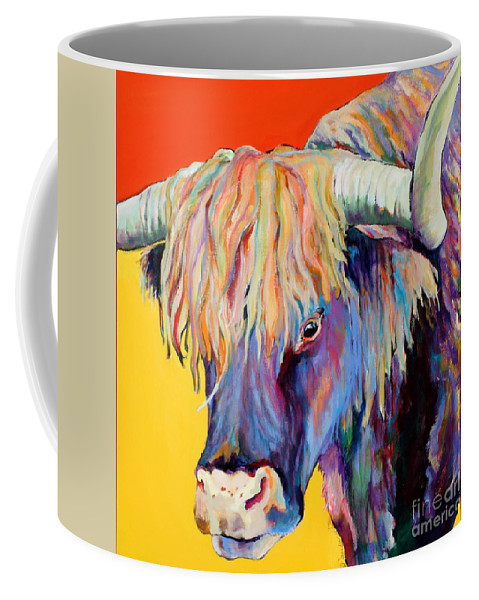 Farm Animal Coffee Mug featuring the painting Scotty by Pat Saunders-White