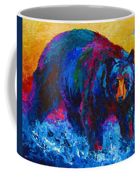 Western Coffee Mug featuring the painting Scouting For Fish - Black Bear by Marion Rose