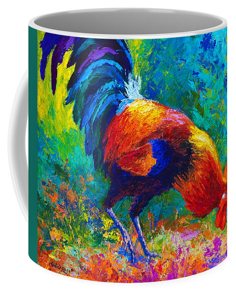 Rooster Coffee Mug featuring the painting Scratchin' Rooster by Marion Rose