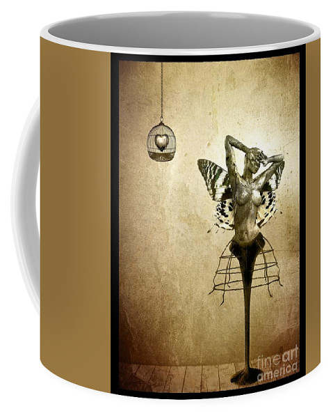 Digital Coffee Mug featuring the painting Scream Of A Butterfly by Jacky Gerritsen