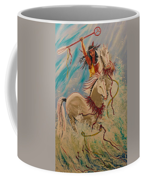 Horses Coffee Mug featuring the painting Scream Of Peace by V Boge