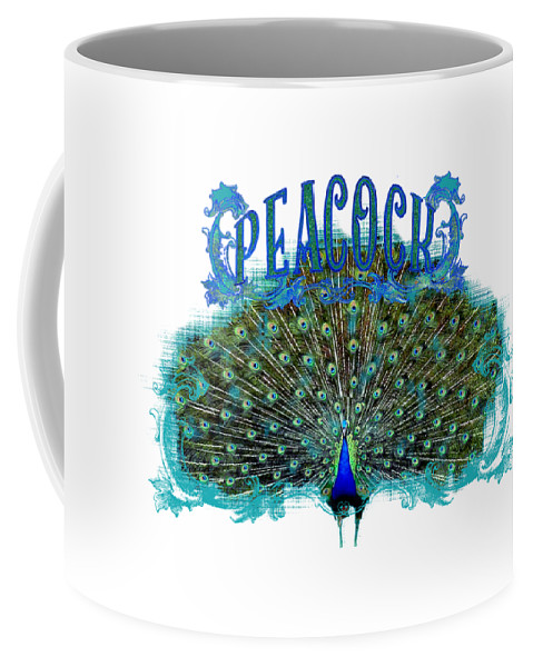 Peacock Coffee Mug featuring the painting Scroll Swirl Art Deco Nouveau Peacock W Tail Feathers Spread by Audrey Jeanne Roberts