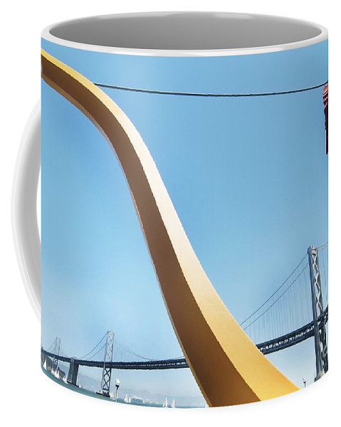 California Scenes Coffee Mug featuring the photograph Sculpture By San Francisco Bay Bridge by Norman Andrus