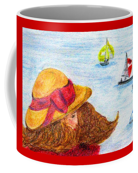 Straw Hat Coffee Mug featuring the painting Sea Breeze by Angela Davies
