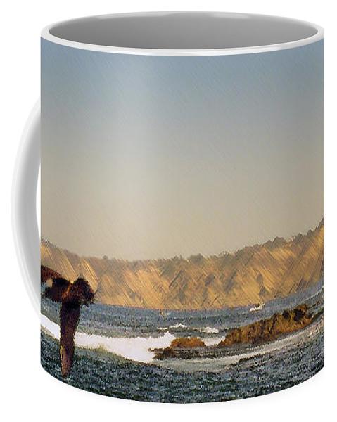 Ocean Coffee Mug featuring the digital art Sea Cliff by Steve Karol