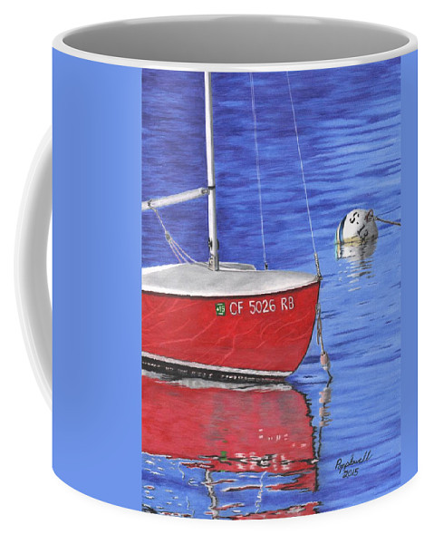 Balboa Coffee Mug featuring the painting Sea-ing Red by Tom Popplewell