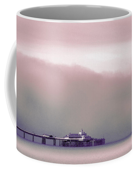 Pier Coffee Mug featuring the photograph Sea Mist Replaces The Great Orme As The Backdrop To Llandudno Pier by Mal Bray