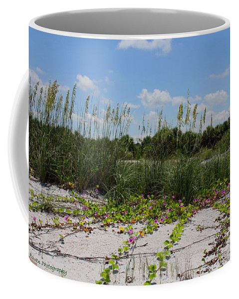 Beach Coffee Mug featuring the photograph Sea Oats And Blooming Cross Vine by Barbara Bowen
