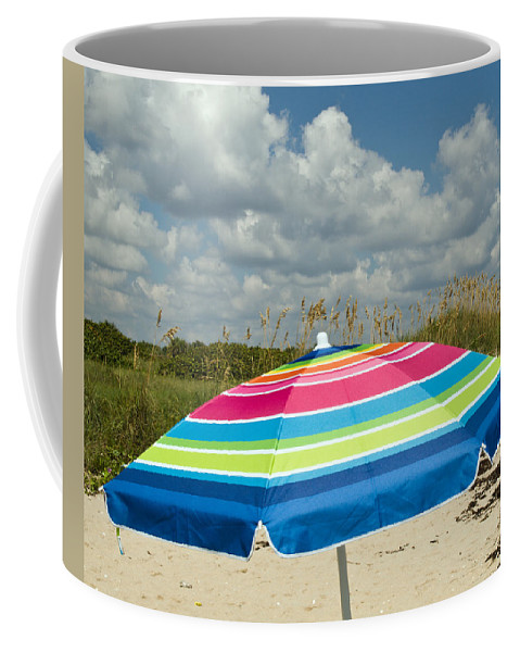 Florida; Beach; Coast; Shore; Atlantic; East; Waves; Sand; Dunes; Sea; Oats; Seaoats; Plant; Grass; Coffee Mug featuring the photograph Sea Oats On The Beach by Allan Hughes