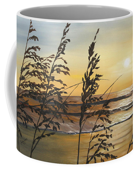 Nature Coffee Mug featuring the painting Sea Oats Silhouette At Sunset by Johanna Lerwick