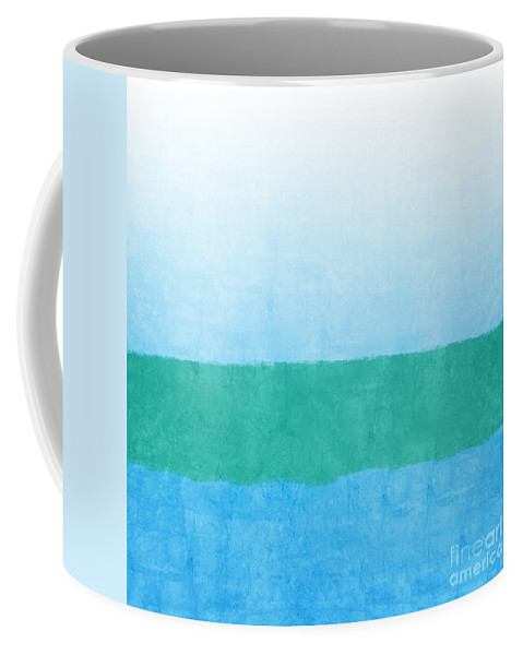 Abstract Coffee Mug featuring the mixed media Sea of Blues by Linda Woods