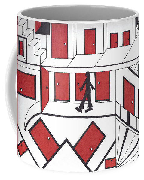 Doors Stairs People Coffee Mug featuring the drawing Red Doors by Johnny Huff