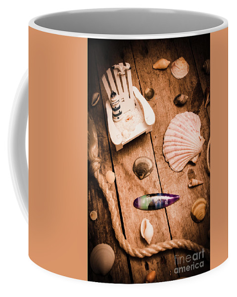 Shell Coffee Mug featuring the photograph Sea Shell Decking by Jorgo Photography - Wall Art Gallery