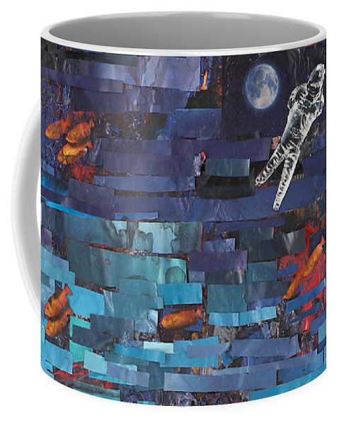 Astronaut Coffee Mug featuring the mixed media Sea Space by Jaime Becker