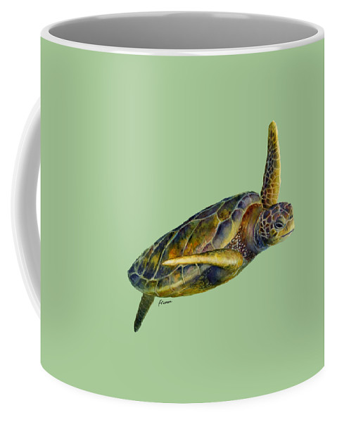 Underwater Coffee Mug featuring the painting Sea Turtle 2 by Hailey E Herrera
