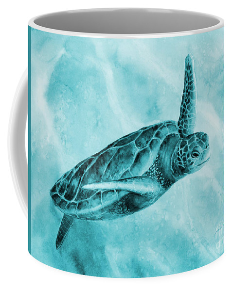 Mono Coffee Mug featuring the painting Sea Turtle 2 in Blue by Hailey E Herrera