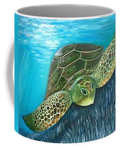 Ocean Coffee Mug featuring the painting Sea Turtle by Caryn Morris