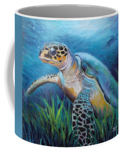 Sea Turtle Painting Coffee Mug featuring the pastel Sea Turtle Cove by Susan Jenkins