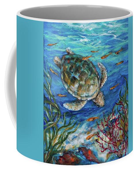Sea Coffee Mug featuring the painting Sea Turtle Dive by Linda Olsen