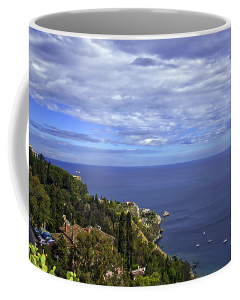 Landscape Coffee Mug featuring the photograph Sea View From Taormina by Madeline Ellis