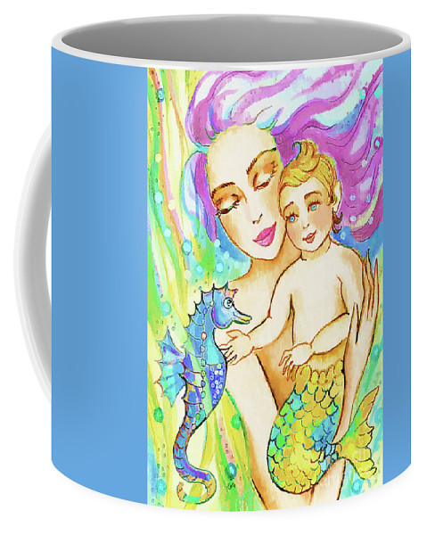Mermaid Mother Coffee Mug featuring the painting Sea Wonders by Eva Campbell