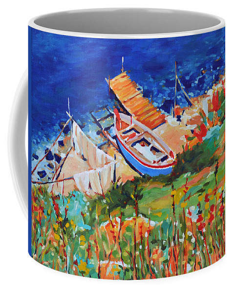 Seascape Coffee Mug featuring the painting Seacoast by Iliyan Bozhanov