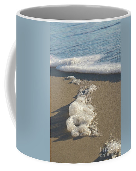 Abstract Coffee Mug featuring the photograph Seafoam Detail On Waters Edge by Ingela Christina Rahm