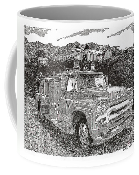 Images Of Seagrave Gmc Firetrucks. Automotive Prints Coffee Mug featuring the drawing Seagrave Gmc Firetruck by Jack Pumphrey