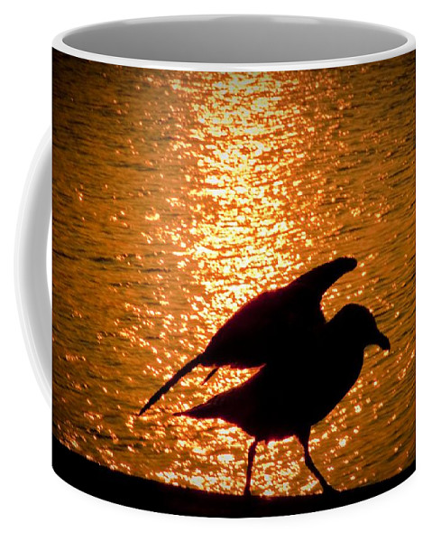 Seagull Coffee Mug featuring the photograph Seagull Silhouette by Steven Natanson