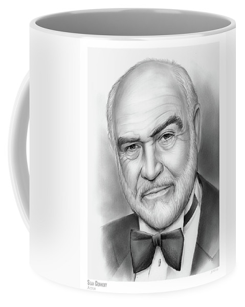 Sean Connery Coffee Mug featuring the drawing Sean Connery by Greg Joens