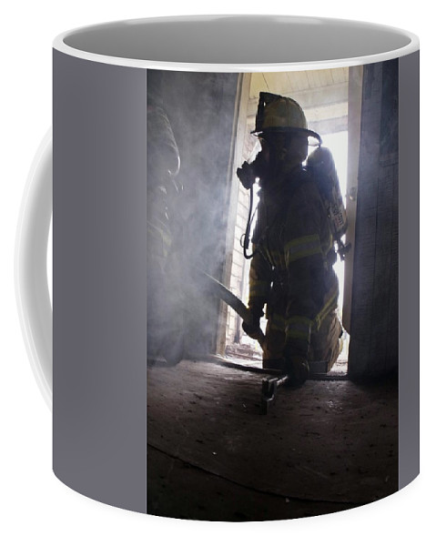Fire Coffee Mug featuring the photograph Searching by Jimmie Blacker
