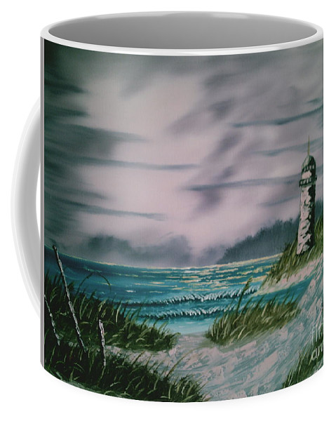 Seascape Coffee Mug featuring the painting Seascape Lighthouse by Jim Saltis