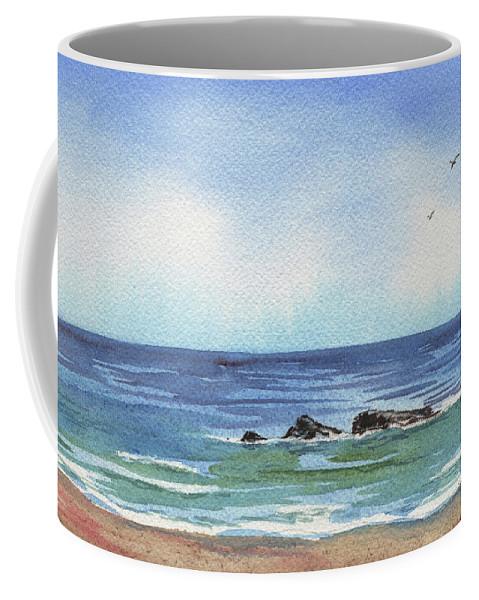 Seascape With Three Rocks Coffee Mug featuring the painting Seascape With Three Rocks by Irina Sztukowski